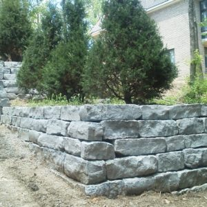 Blue Gray wall stone installed by Paver Planet